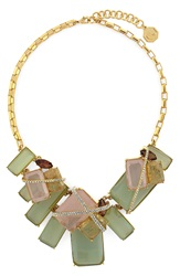 Louise Et Cie Stone Statement Necklace Gold Seagreen Rose