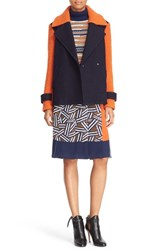 Diane Von Furstenberg Women's 'Kenzly' Colorblock Mixed Media Coat Burnt Orange Midnight