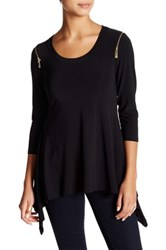 Chaus Scoop Neck Sharkbite Zip Blouse Black