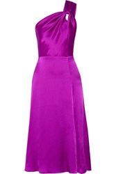 Cushnie Et Ochs One Shoulder Silk Satin Dress Purple
