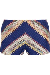 Missoni Crochet Knit Shorts Blue