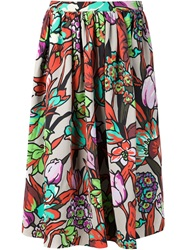 Duro Olowu Floral Print Flared Skirt Pink And Purple