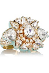 Shourouk Galaxy Gold Tone Crystal And Enamel Two Finger Ring Metallic