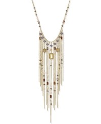 Inc International Concepts Gold Tone Multi Stone Fringe Statement Necklace Only At Macy's