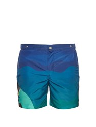 Robinson Les Bains Oxford Long Profile Swim Shorts Green
