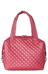 M Z Wallace Mz Wallace 'Large Sutton' Quilted Oxford Nylon Satchel Red Garnet Metallic