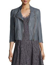 Joie Casella Asymmetrical Zip Leather Jacket Silver