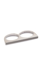 Eddie Borgo Two Finger Color Ring Silver Grey