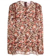 Giamba Embroidered Floral Silk Blouse Multicoloured