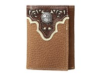 Ariat Ivory Overlay Concho Trifold Wallet Tan Wallet