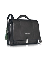Piquadro Link Slim 15 Laptop Expandable Messenger Bag Black