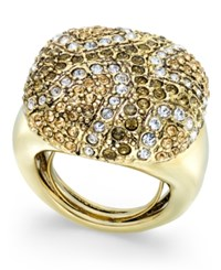 Abs By Allen Schwartz Gold Tone Multicolor Pave Statement Ring