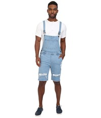 Publish Fonso Distressed Stretch Denim Overall Shorts Light Indigo Men's Overalls One Piece Blue