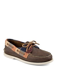 Sperry A O 2 Eye Plaid Boat Shoes Brown Red