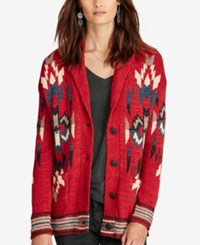 Denim And Supply Ralph Lauren Boyfriend Shawl Cardigan Red Multi