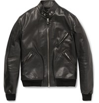 Tom Ford Slim Fit Leather Bomber Jacket Black