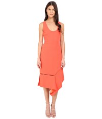 Prabal Gurung Crepe Asymmetrical Hem Dress Vermillion Women's Dress Red