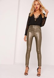 Missguided Superstretch High Rise Zipped Skinny Jeans Metallic Pewter