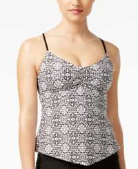 Hula Honey Mini Tribal Pulse Printed Open Back Tankini Top Women's Swimsuit Black White