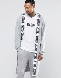 Asos Loungewear Dressing Gown With Chillin Print Grey Marl Navy