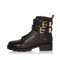 River Island Womens Black Double Buckle Strap Boots