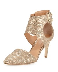 Sigerson Morrison Season Snake Embossed Pointed Toe Pump Terra Gold