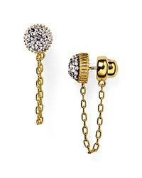 Marc By Marc Jacobs Pave Cabochon Chain Stud Earrings Silver Gold