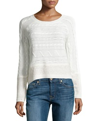 Design History Cable And Looped Knit Crop Sweater Winter White