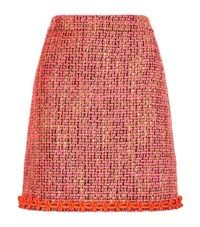 Boutique Moschino Contrast Trim Tweed Skirt Female Pink