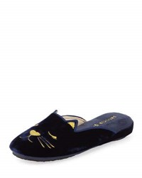 Patricia Green Wink Kitty Velvet Slippers Navy
