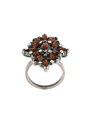 Marni Floral Strass Ring Yellow And Orange