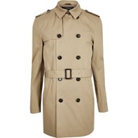 River Island Mens Brown Double Breasted Military Trench Coat