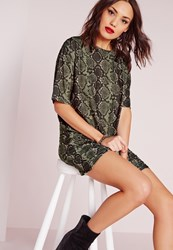 Missguided Snake Print T Shirt Dress Khaki Beige
