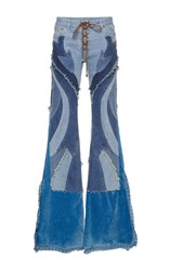 Roberto Cavalli Lace Up Patchwork Jeans Blue