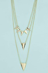 Boohoo Triple Layered Spike Necklace Gold