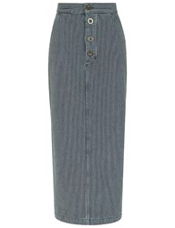 Mih Jeans Indigo Railroad Stripe Malo Skirt Blue