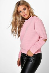 Boohoo Cut Out Rib Sweat Antique Rose