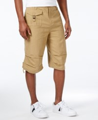 Sean John Men's Lightweight Solid Big And Tall Utility Shorts Kelp