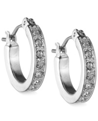 Nine West Silver Tone Pave Crystal Hoop Earrings