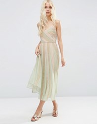 Asos Pastel Fit And Flare Cami Midi Dress Multi