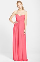 Women's Donna Morgan 'Laura' Ruched Sweetheart Silk Chiffon Gown Honeysuckle