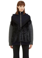 Stella Mccartney Faux Fur Knit Zip Up Sweater Black