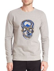 Markus Lupfer Merino Wool Beaded Skull Embellished Sweatshirt Grey