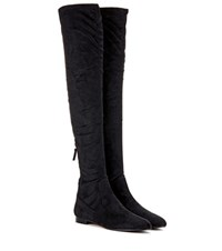 Aquazzura All I Need Faux Suede Over The Knee Boots Black
