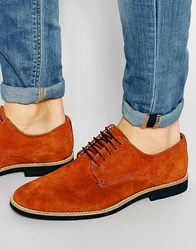 Asos Derby Shoes In Stone Suede With Contrast Sole Stone