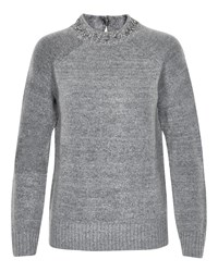 Soaked In Luxury Jumper Embellished On The Neck Grey