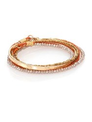 Taylor And Tessier Wire Panacea Crystal And Leather Beaded Wrap Bracelet Gold Orange