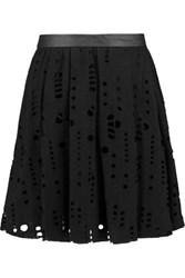 Maje Laser Cut Wool Blend Mini Skirt Black