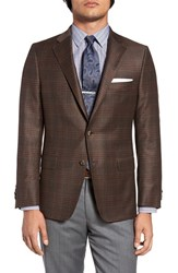 Hickey Freeman Men's Big And Tall Classic Fit Plaid Wool And Silk Sport Coat Brown