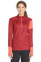 Women's Asics 'Thermostripe' Print Half Zip Jacket Deep Ruby Stripe Living Coral